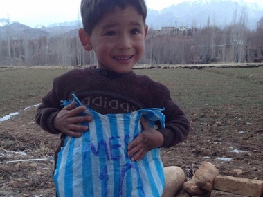Five-year-old Murtaza is believed to be the kid wearing a plastic Messi 'jersey' whose image went viral. Twitter/ @messi10stats