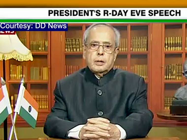 President Pranab Mukherjee delivers his speech ahead of the 67th Republic Day.