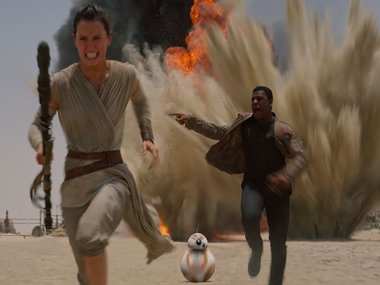 Daisy Ridely as Rey in Star Wars: The Force Awakens. Screengrab
