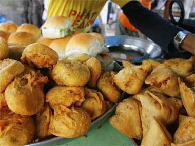 Samosa (right) and vadas and pavs (left). Reuters
