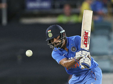 Indian batsman Virat Kohli plays a shot during their One Day International cricket match against Australia in Canberra. AP