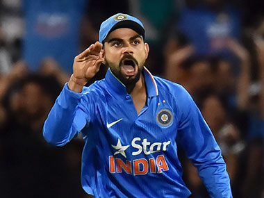 Kohli's 'chatterbox' hand gesture. Getty Images