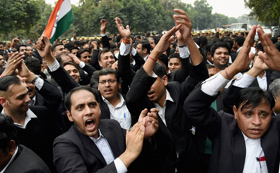 New Delhi: Lawyers march from Patiala House Courts to India Gate against alleged anti-national activities at JNU, in New Delhi on Friday. PTI Photo by Atul Yadav