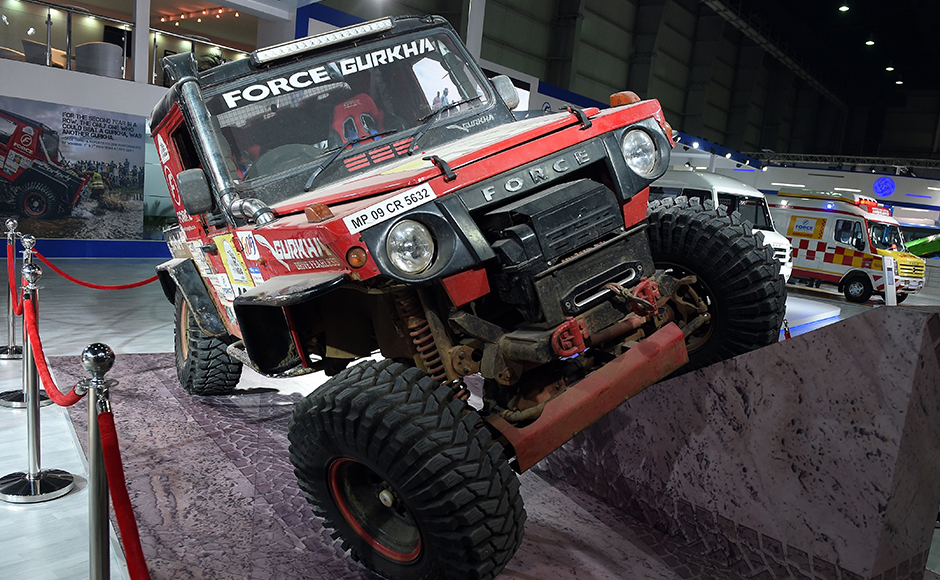 Force's Adventure vehicle Gurkha on display at Auto Expo 2016 in Greater Noida some 45kms east of New Delhi on February 4, 2016. India's flagship auto show opened its doors in New Delhi with a new batch of diesel-guzzling SUVs on proud display, despite industry uncertainty about a pollution crackdown targeting motorists in the capital. More than 80 vehicle launches were expected at the Auto Expo 2016, the biggest edition in the show's 30-year history, with the Fiat Chrysler-owned Jeep making its India debut and hoping to capitalise on the popularity of sports utility vehicles. AFP