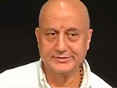 Anupam Kher during the media conference. Image courtesy:  CNN-IBN screengrab