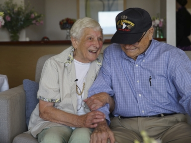 World War II veteran Norwood Thomas, 93, reunites with wartime girlfriend Joyce Morris after more than 70 years apart. AP