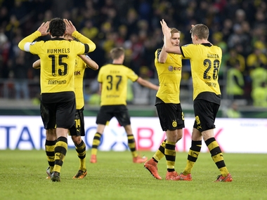 Borussia Dortmund players celebrate after their German Cup win. AFP