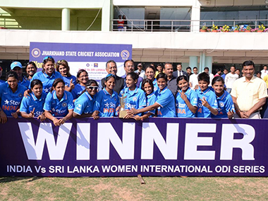 The victorious Indian women's team in Ranchi on Friday. BCCI