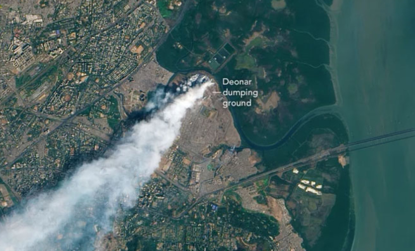 The Deonar Fire captured by a satellite. Image Courtesy: NASA