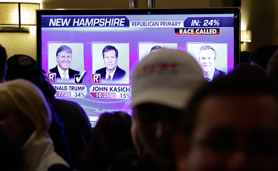 Trump, Sanders emerge winners at 2016 New Hampshire primaries