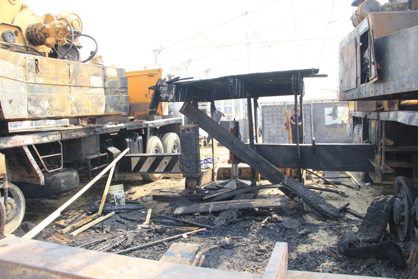 The burnt out remains of the Make in India Week stage on Monday. Image courtesy Deepak Salvi