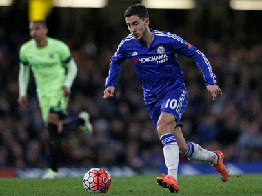 Chelsea playmaker Eden Hazard during the FA Cup fifth-round match against Manchester City at Stamford Bridge on Sunday. AFP