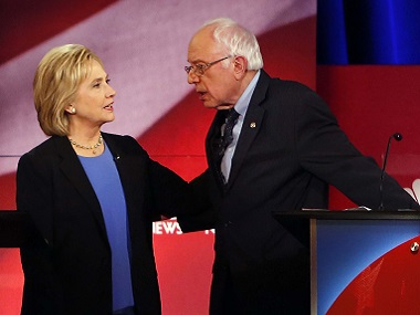 Democratic presidential candidates Hillary Clinton and Bernie Sanders in the previous Democratic debate in January. AP