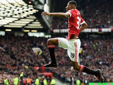 Marcus Rashford celebrates scoring his opening goal. Getty Images