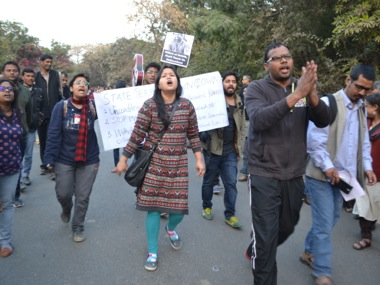 Protests at JNU. Firstpost/Tarique Anwar