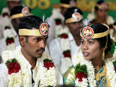 Brand Amma gets a boost: Couples at mass wedding wear headbands with Jayalalithaa's photo