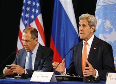 Sergey Lavrov and John Kerry. AP