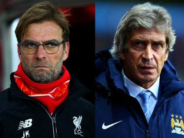 Liverpool manager Jurgen Klopp and Manchester City boss Manuel Pellegrini. Getty