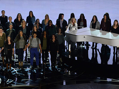 Oscars 2016 Rape survivors got starstudded sendoff after Gagas perofrmance