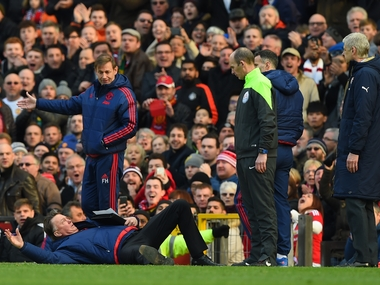 Manchester United boss Louis van Gall went for the theatrical against Arsenal. Getty