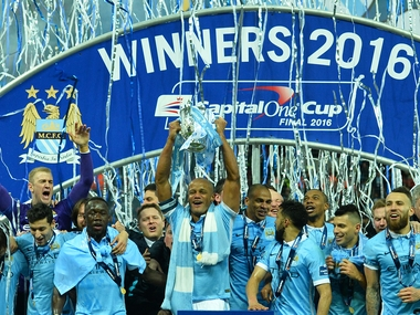 Manchester City were crowned League Cup champions. AFP