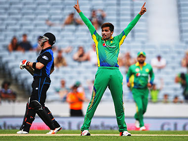 Pakistan pacer Mohammad Amir during a match against New Zealand in Auckland on 31 January. Getty