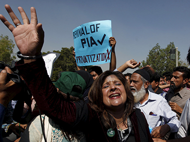 Protests near the Karachi airport. Reuters