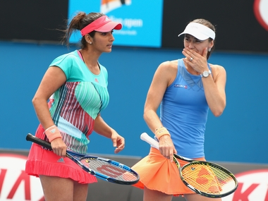 Sania Mirza and Martina Hingis at the Australian Open. Getty Images