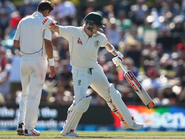 Steve Smith celebrates after reaching his century. Getty Images