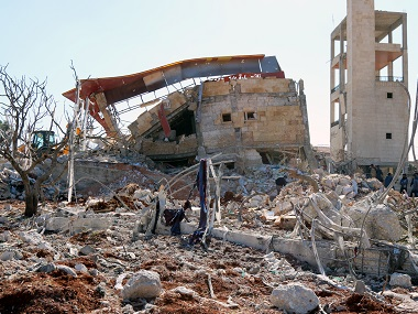 The rubble of a hospital supported by Doctors Without Borders (MSF) near Maaret al-Numan, in Syria's northern province of Idlib, on 15 February, 2016, after the building was hit by suspected Russian airstrikes. AFP