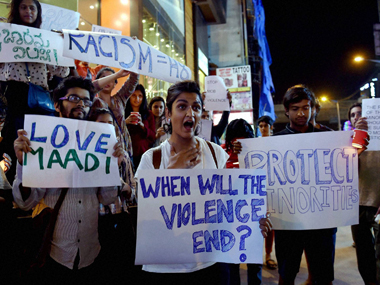 Protests after the assault of a Tanzanian student in Bengaluru. PTI