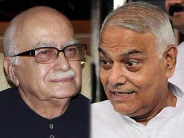 Veteran BJP leaders LK Advani and Yashwant Sinha. PTI