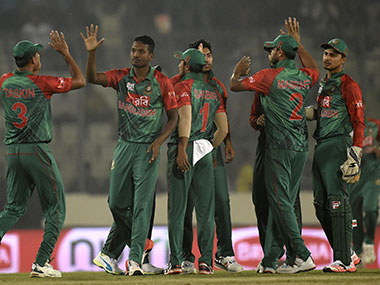 Bangladesh players against UAE. AFP