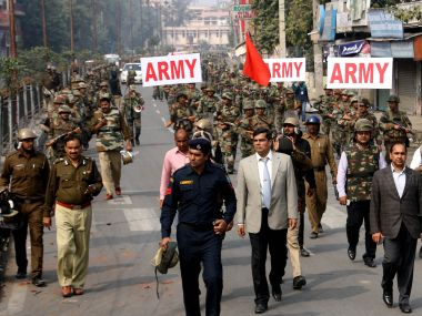 Army personnel patrol streets in Rohtak on Saturday. AFP