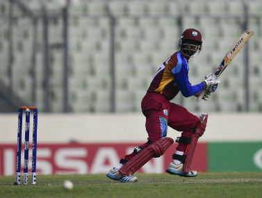 West Indies batsman Keemo Paul during his knock of unbeaten 40 against India in the U19 World Cup final at the Sher-e-Bangla National Cricket Stadium in Dhaka on Sunday. AFP
