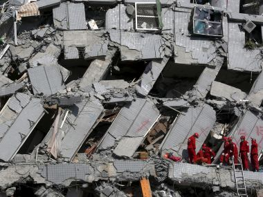 A collapsed building in Tainan, Taiwan, after the devastating earthquake left 18 people dead. Reuters