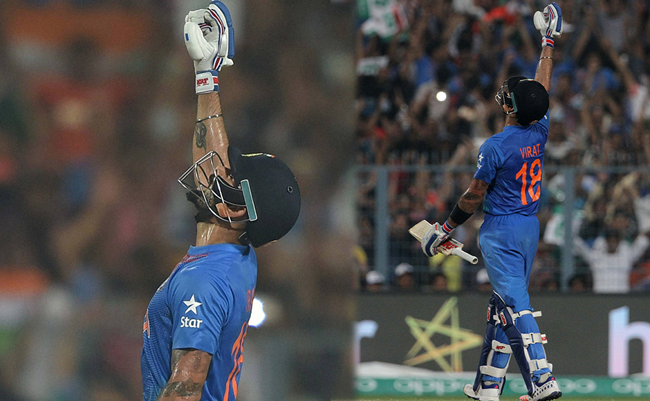 Indian Virat Kohli celebrates after beating Pakistan by 6 wickets during the ICC T20 World cup at Eden Garden in Kolkata on Saturday. PTI
