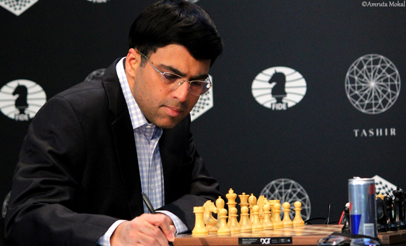 Vishy Anand is all concentration during the game against Nakamura. Amruta Mokal