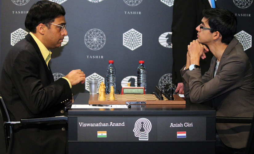 Viswanathan Anand (left) was on 6.5/12 half a point behind the leaders, while Anish Giri was on 50% score. Amruta Mokal