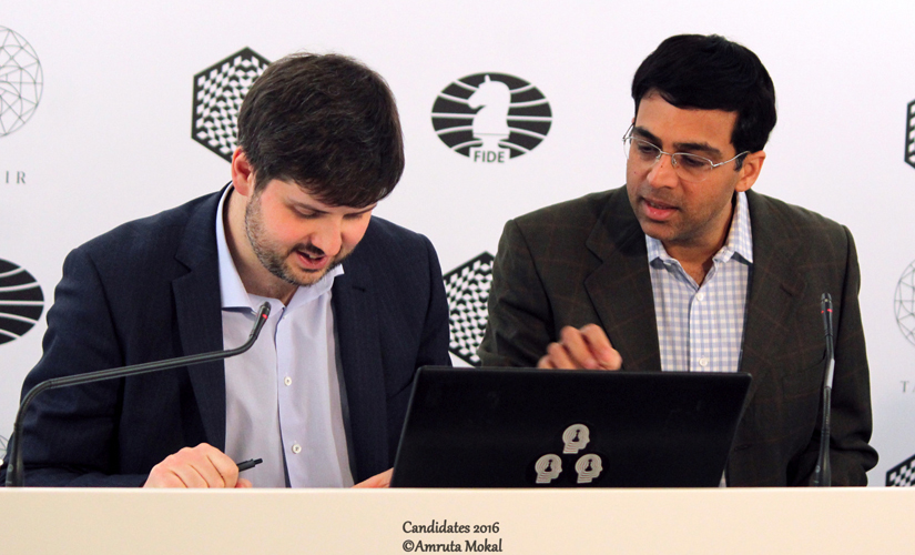 Viswanathan Anand (left) with Peter Svidler during the post-match media conference at the Central Telegraph Building in Moscow on Monday. Amruta Mokal