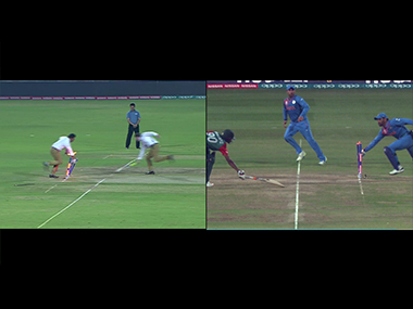 Commentators Daren Ganga and Nick Knight (left) enacting the now-famous moment. Image courtesy: Screengrabs from ICC official videos.