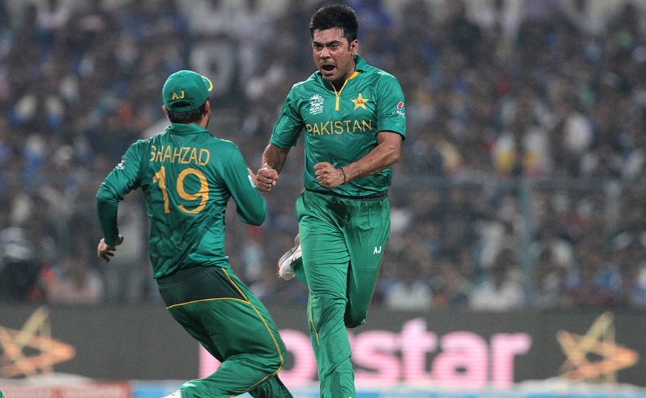 Pakistan player Mohammad Sami celebrates the wicket of Indian player Suresh Raina during the ICC Twenty20 World Cup match played between Indian and Pakistan at the Eden Garden Stadium in Kolkata, India on March 19, 2016. Getty Images