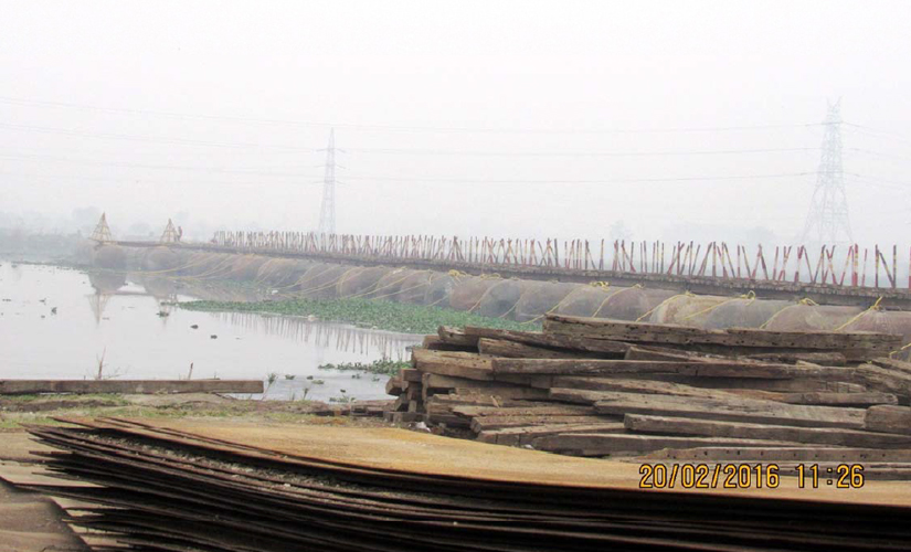 A view of the pontoon bridge over the River Yamuna. Photo acquired by Firstpost from the NGT-appointed committee