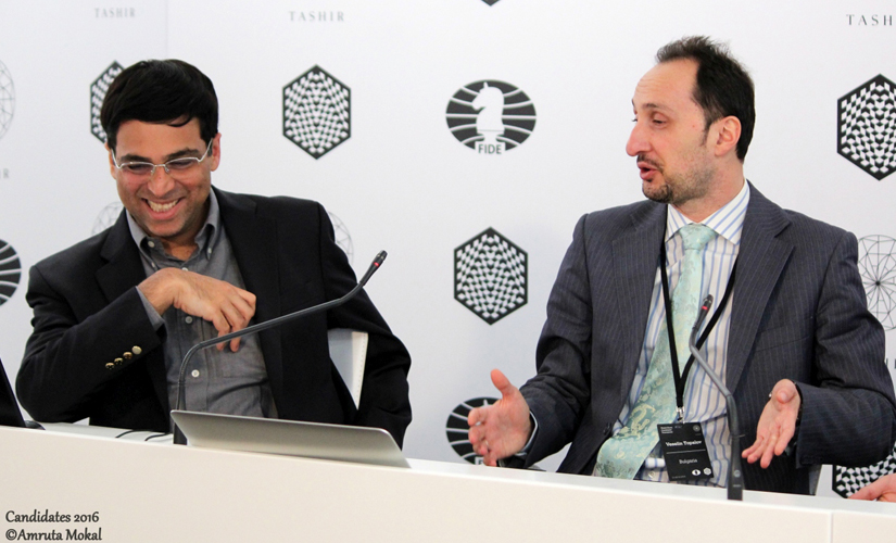 Anand and Topalov's rivalry goes back many years in time. Both are seen here in the post-game media conference. Amruta Mokal