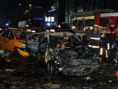 Emergency services gather at the scene of the explosion in Ankara's central Kizilay district. GettyImages
