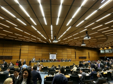 View of the board of governors meeting of the IAEA, at the International Center in Vienna. AP