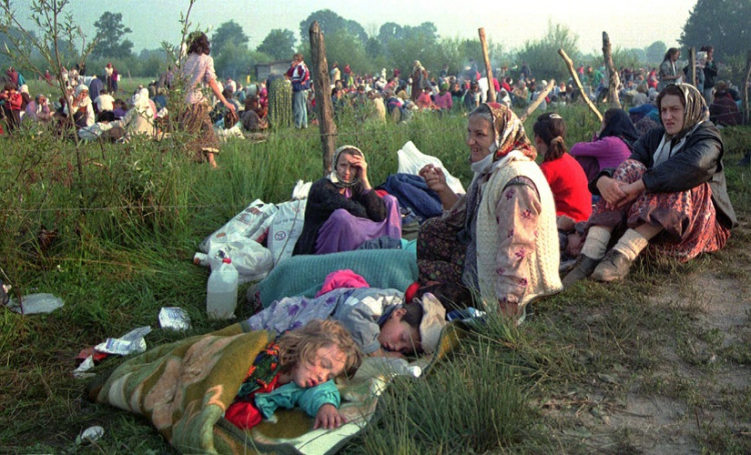 A file image of refugees from the overrun UN safe haven enclave of Srebrenica who had spent the night outdoors. AP