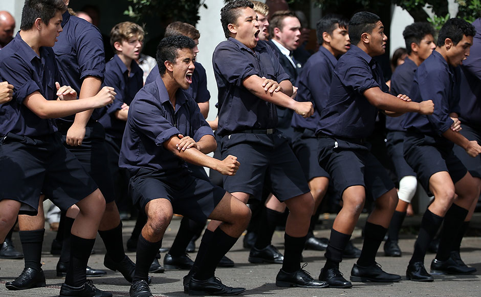 Auckland Grammar students perform a haka after the funeral service for Martin Crowe on March 11, 2016 in Auckland, New Zealand. Former New Zealand cricketer Martin Crowe passed away last Thursday, aged 53. (Photo by Fiona Goodall/Getty Images)