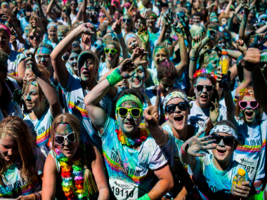 About 10,000 participants took part when Copenhagen was the host city for the Color Run event held in Denmark. GETTY