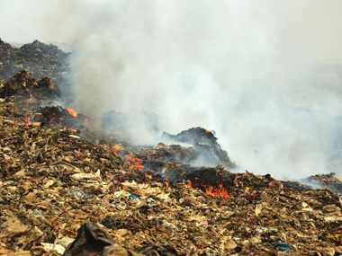 The fire which broke out on Deonar dumping ground. Solaris Images